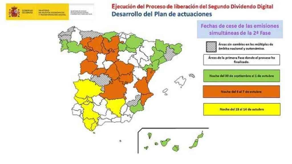 Calendario del Gobierno para el apagón de la TDT.
