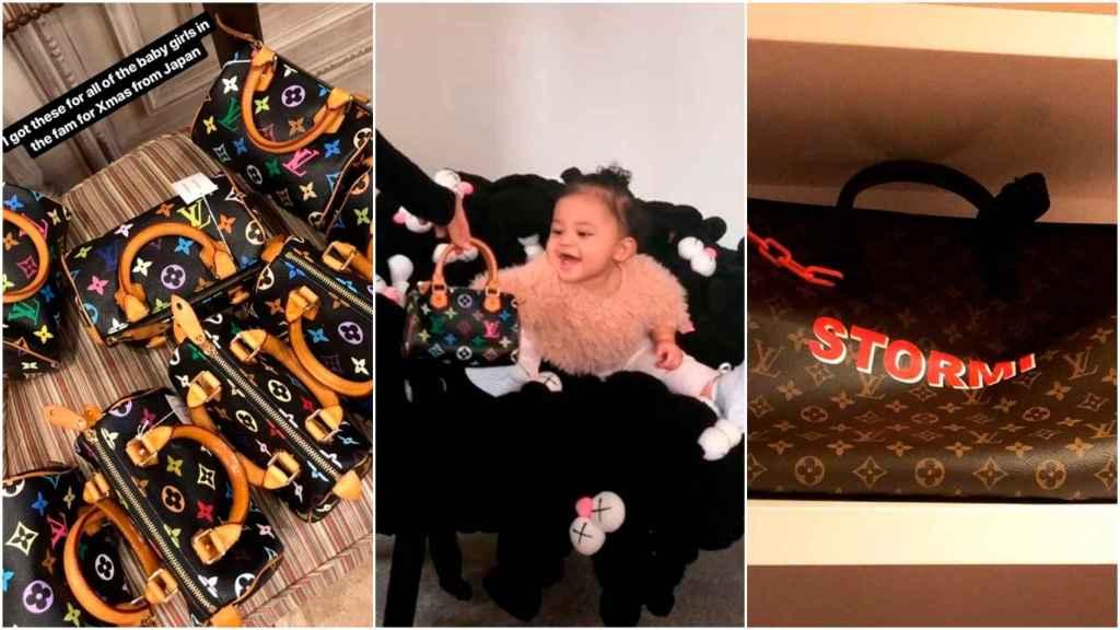 Stormi Webster con sus bolsos de Louis Vuitton.