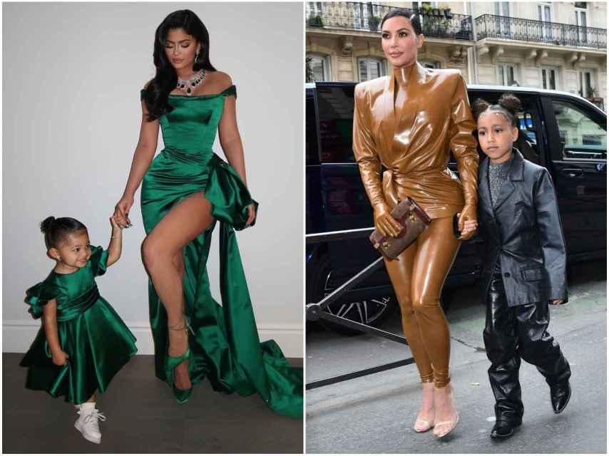 Kylie Jenner y su hija, Stormi, a la izquierda. Kim Kardashian y su hija Norte, a la izquierda.