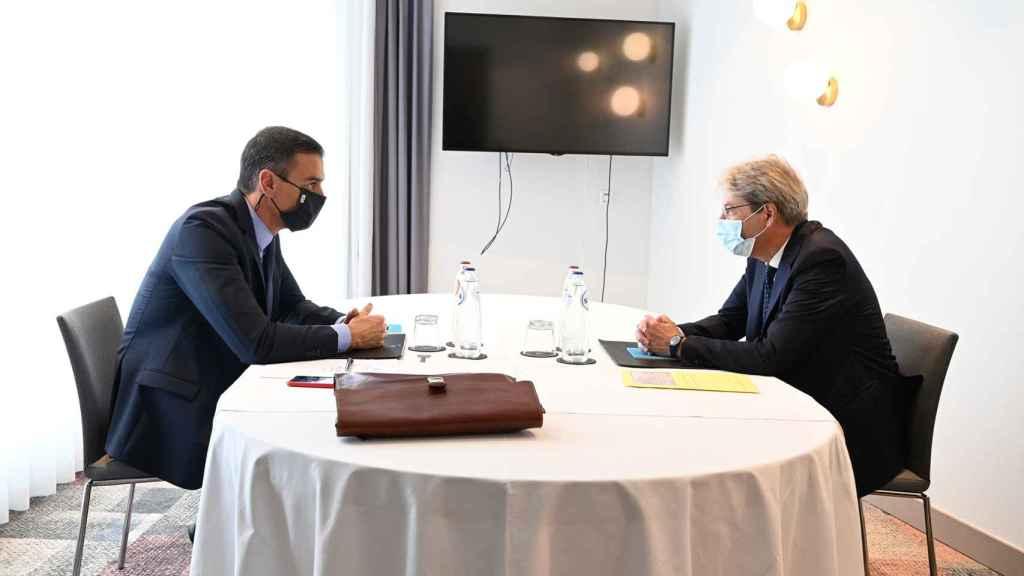 Pedro Sánchez y Paolo Gentiloni, durante su reunión del 23 de septiembre