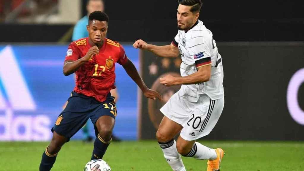 Ansu Fati en el partido de España contra Alemania