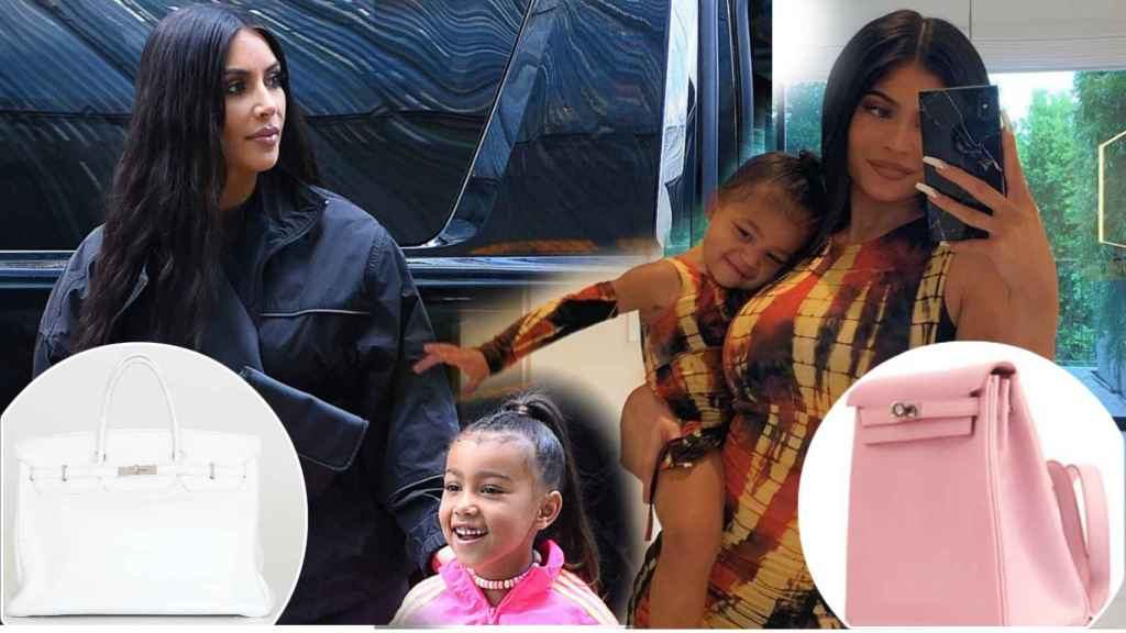 Kim Kardashian, Kylie Jenner, North West y Stormi Webster con dos de sus bolsos más caros en un montaje de Jaleos.