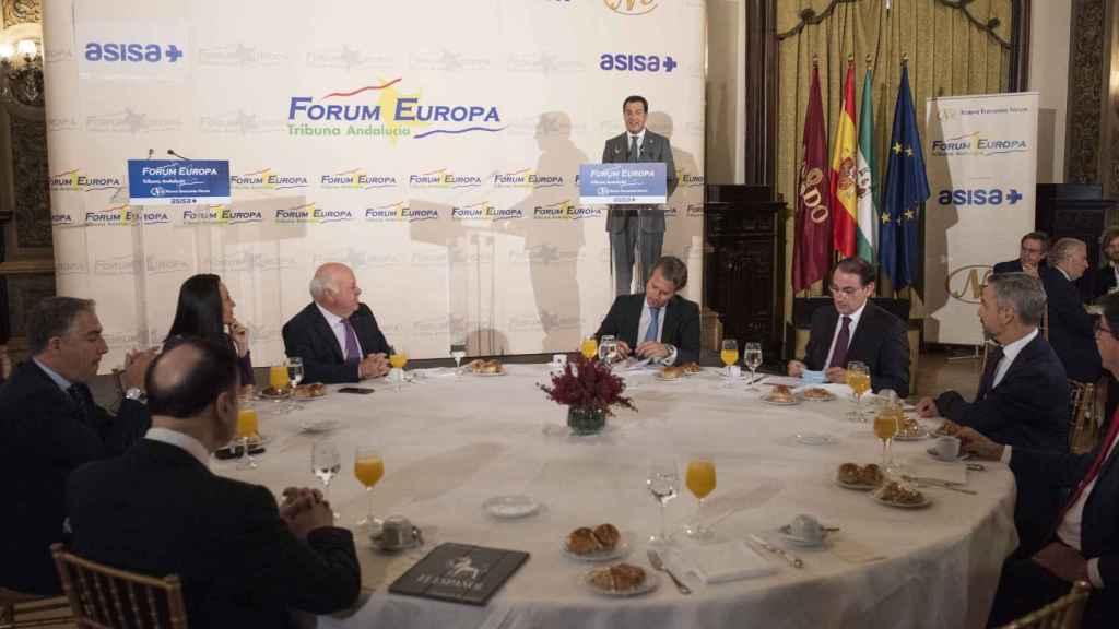 Juanma Moreno, en su intervención de este miércoles en el Fórum Europa, Tribuna Andalucía.