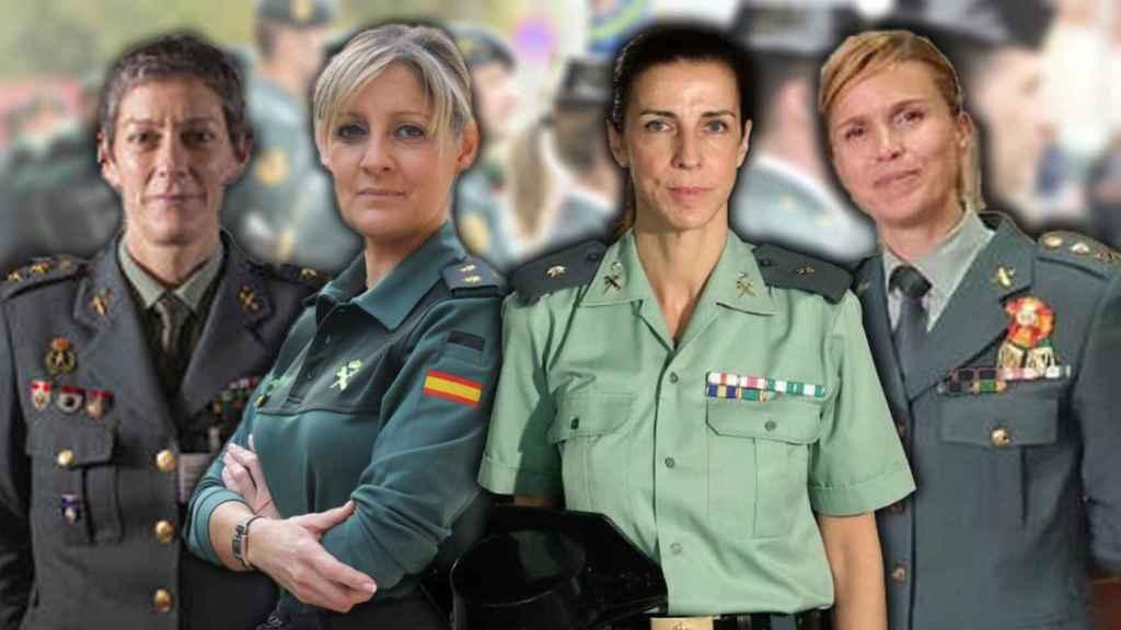 De izda a dcha. Las tenientes coronel Dolores, Cristina, Silvia y Soledad.