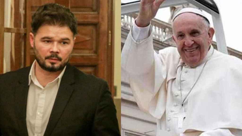 Gabriel Rufián y el Papa Francisco en un fotomontaje.