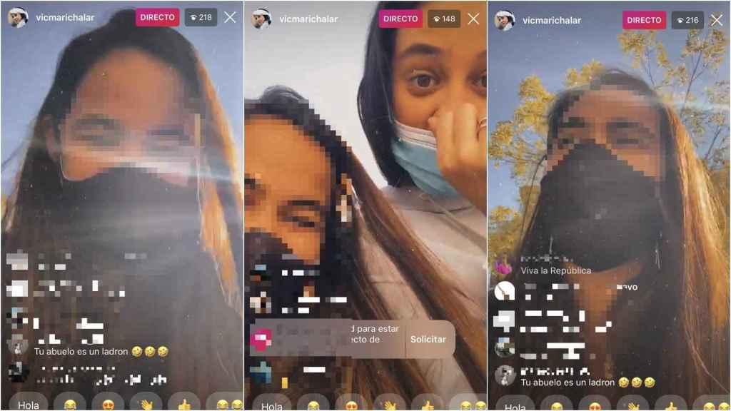 'Screeshots' del directo de Victoria Federica en su cuenta de Instagram.