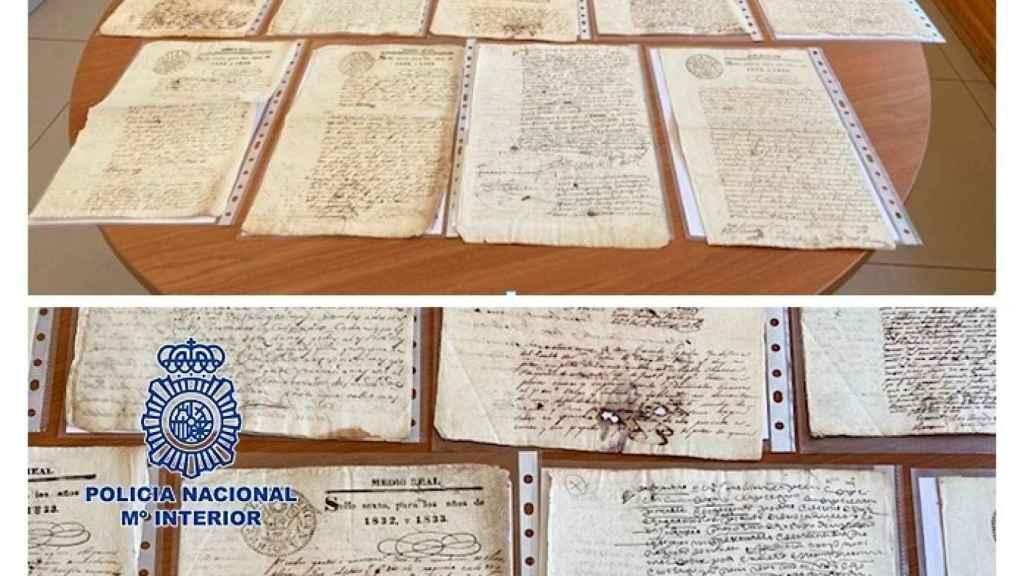 Los manuscritos recuperados por la Policía Nacional.