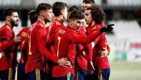 Brahim celebra un gol con la Selección Española Sub21