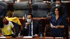 Isabel Díaz Ayuso en sesión de control en la Asamblea de Madrid.
