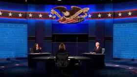 MikePence y Kamala Harris debaten en la Universidad de Utah, en Salt Lake City.