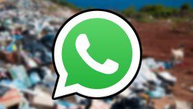 Ilustración de WhatsApp y basura.