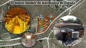 Mapa del mayor búnker de marihuana descubierto hasta el momento en España