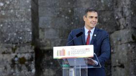 Pedro Sánchez durante su comparecencia junto al primer ministro portugués, Antonio Costa.
