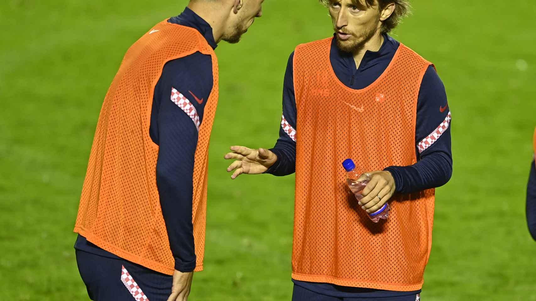Luka Modric durante el entrenamiento de Croacia