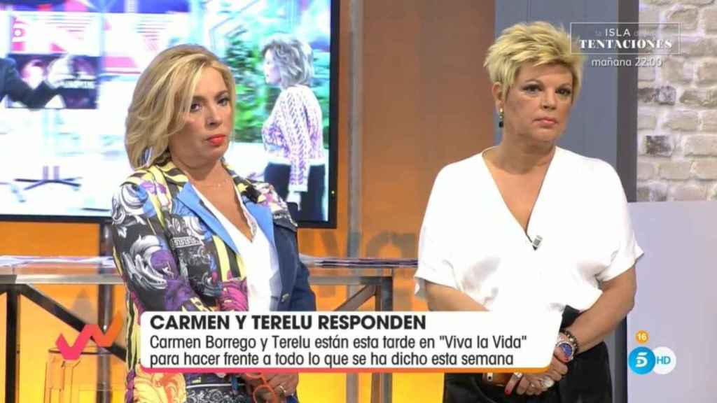 Las hermanas Campos en el plató de Telecinco.