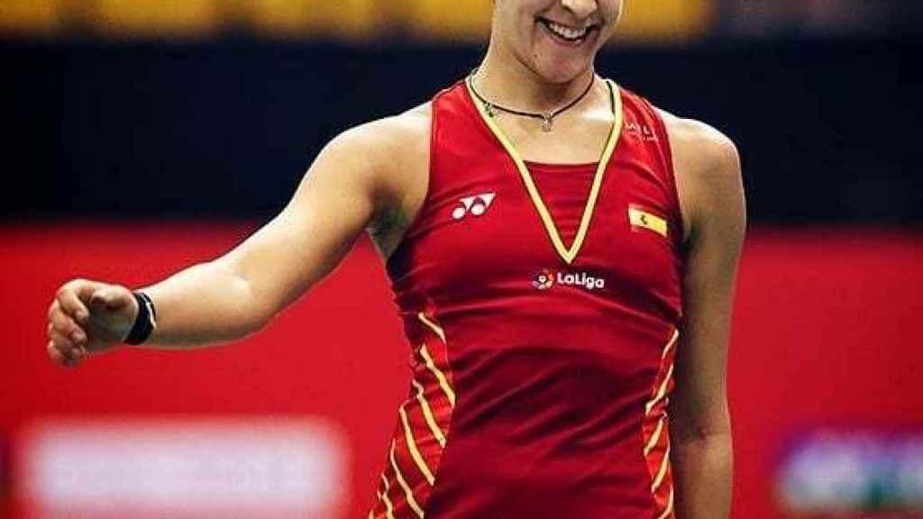 Carolina Marín con el uniforme de España