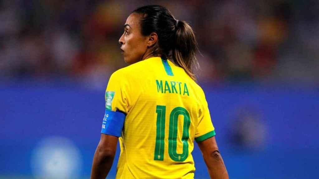 Marta Vieira, en un partido de la selección de Brasil de fútbol femenino
