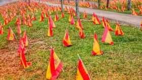 Banderas colocadas en Sevilla en recuerdo de las víctimas de la Covid.