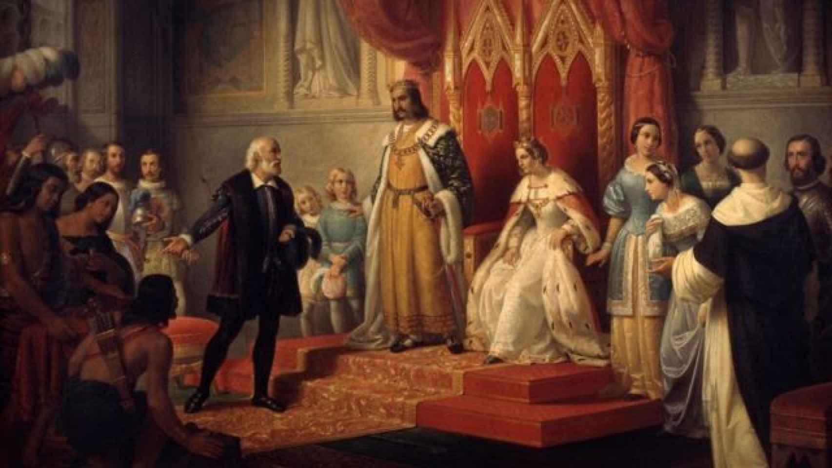 Cristóbal Colón, a su vuelta del viaje a América, frente a los Reyes Católicos.