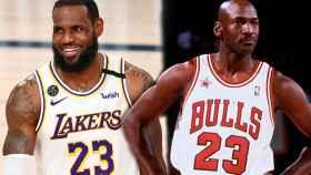 LeBron James y Michael Jordan en un fotomontaje