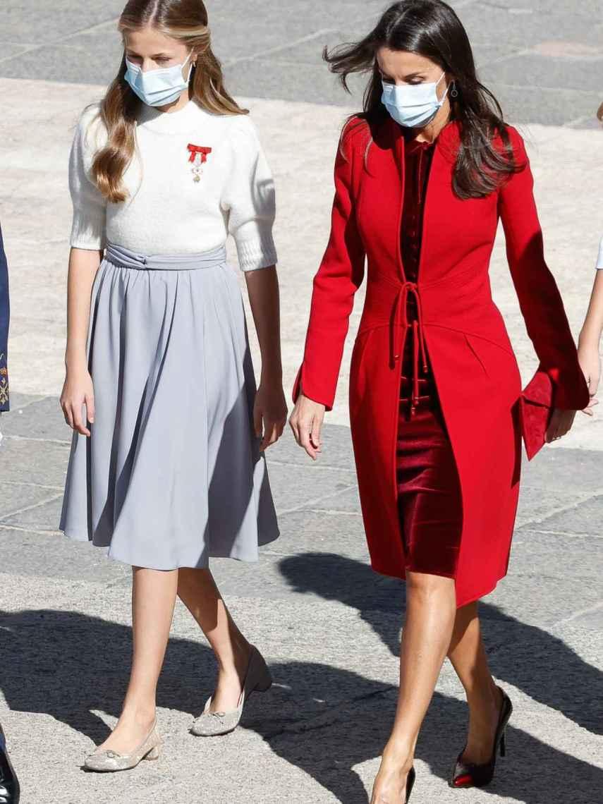La princesa Leonor y la reina Letizia, en el Día de la Hispanidad.
