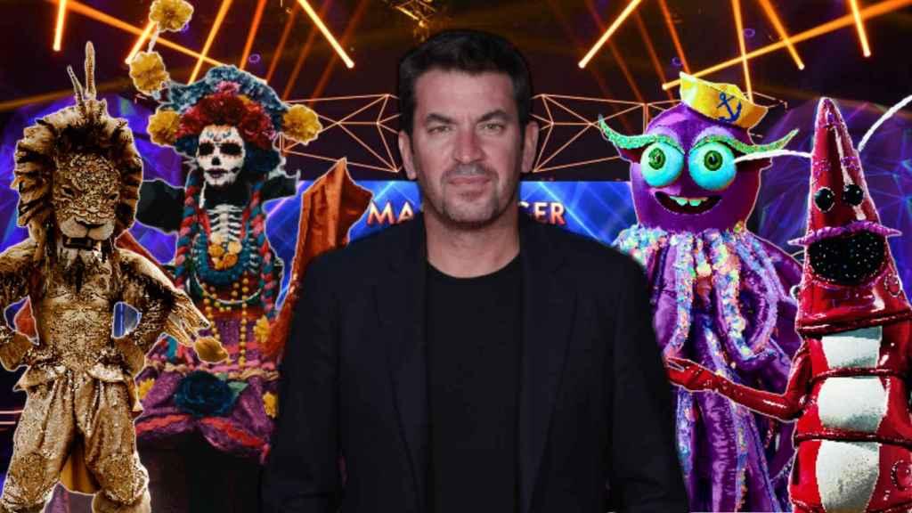 Arturo Valls y algunas de las máscaras del programa en montaje de JALEOS.