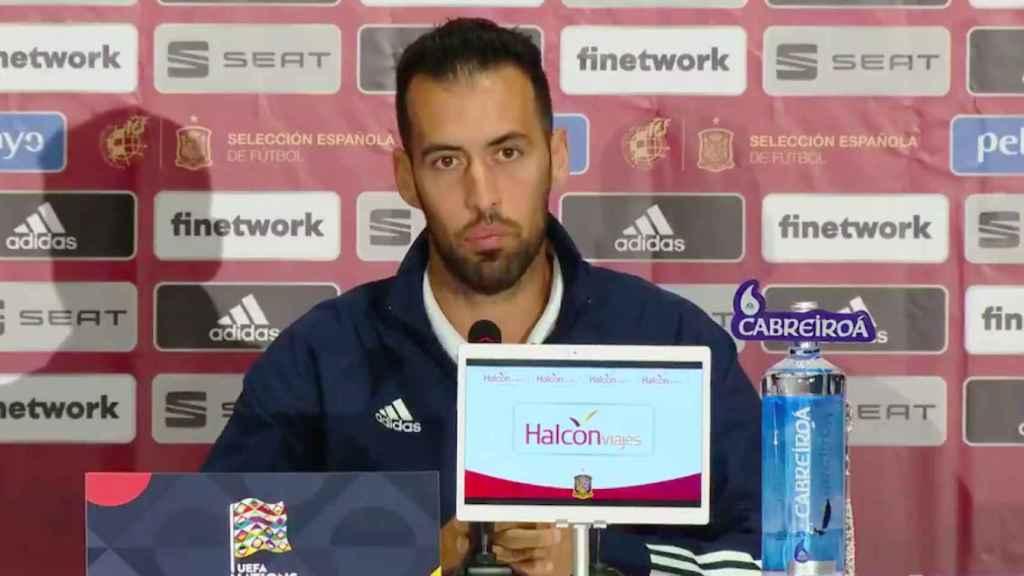 Sergio Busquets en rueda de prensa