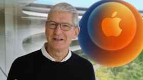 Tim Cook, CEO de Apple, y el logo del evento.