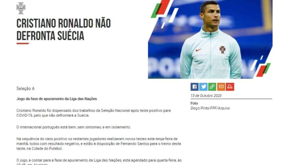 El comunicado de la selección de Portugal anunciando el positivo por coronavirus de Cristiano Ronaldo