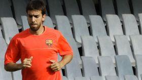 Oleguer Presas, en un entrenamiento del Barcelona