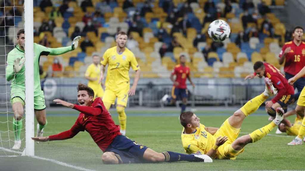 Bushchan, en el partido entre Ucrania y España de la UEFA Nations League