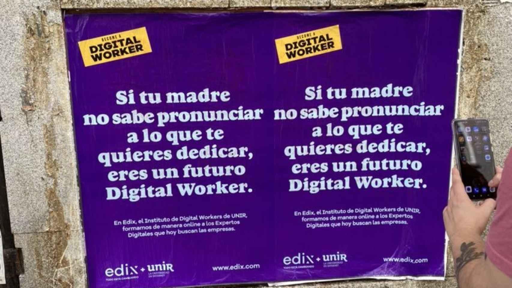 Imagen del cartel de publicidad de la UNIR.