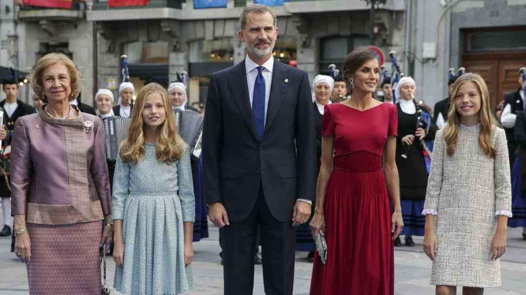 La Familia Real junto a la reina Sofía en la entrega de los Premios Príncipe de Asturias 2019.