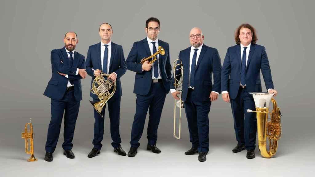 Los integrantes del grupo Spanish Brass.