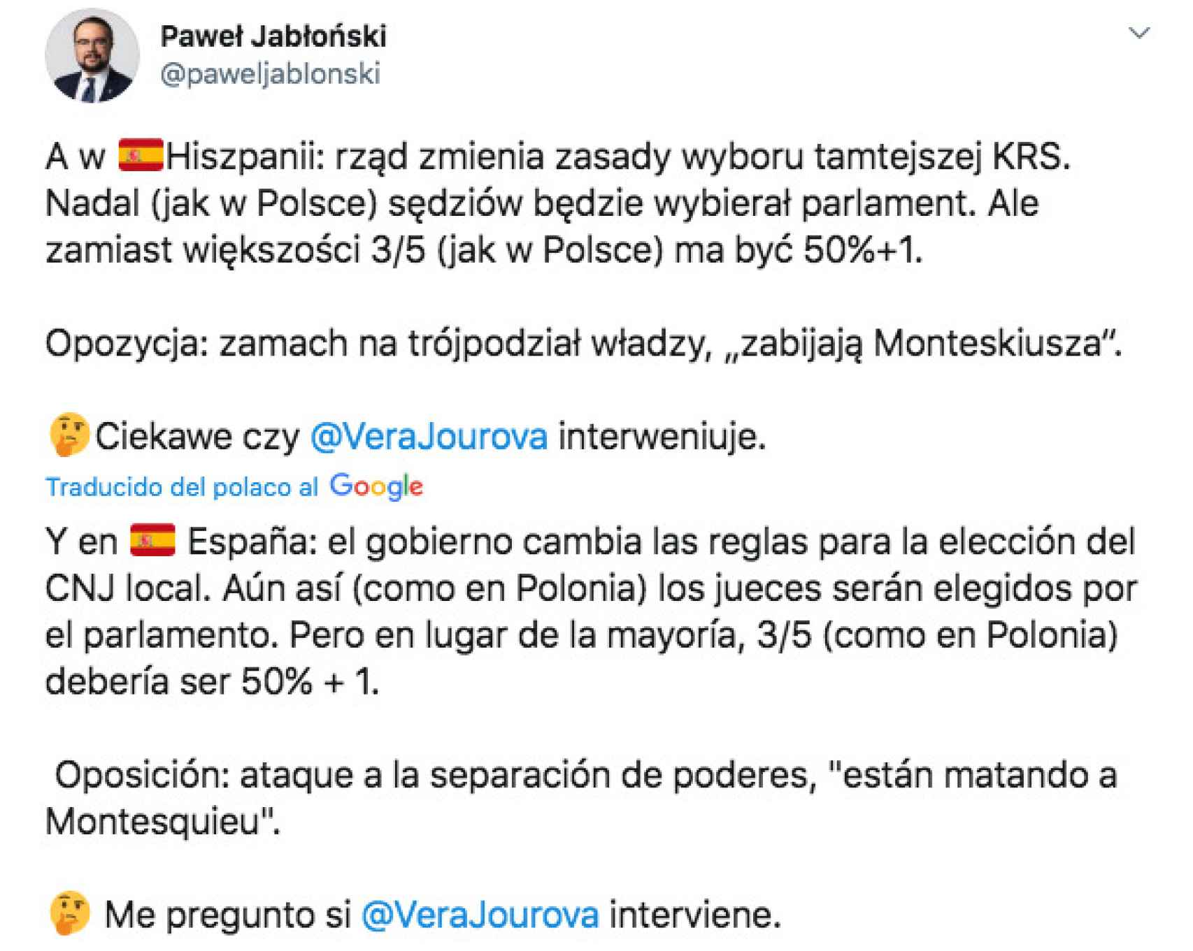 Tuit difundido por el 'número dos' de Exteriores polaco, Pawel Jablonski.