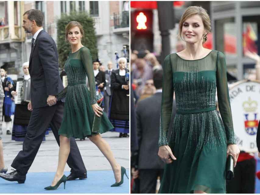Letizia se arriesgó con este vestido verde botella con brillos que recibió grandes críticas.