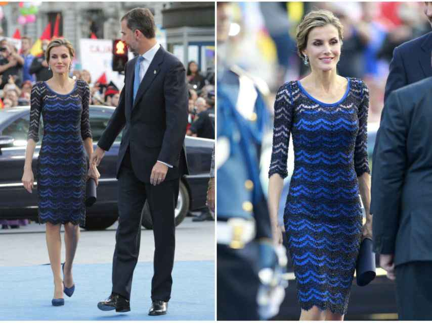 La silueta lápiz y el color azul Asturias favorece a la Reina.