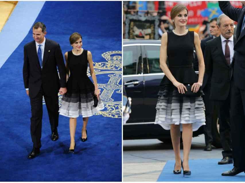 Letizia optó por un original vestido negro que combinó con un collar de perlas.