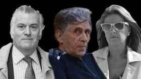 El extesorero del PP Luis Bárcenas (izquierda); su mujer, Rosalía Iglesias (d), y el falso cura Enrique Olivares.