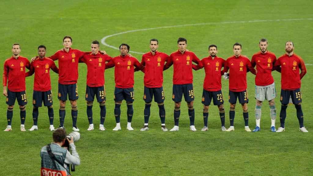 La plantilla de España antes del partido contra Ucrania