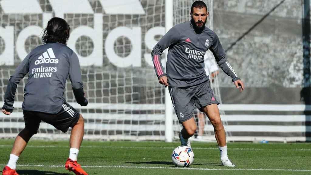 Karim Benzema, en un entrenamiento del Real Madrid