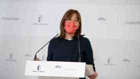Blanca Fernández, consejera portavoz del Gobierno de Castilla-La Mancha, este miércoles en rueda de prensa