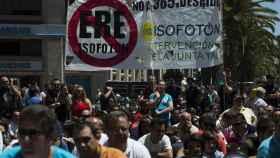 Trabajadores de Isofotón participan en una manifestación en 2013.
