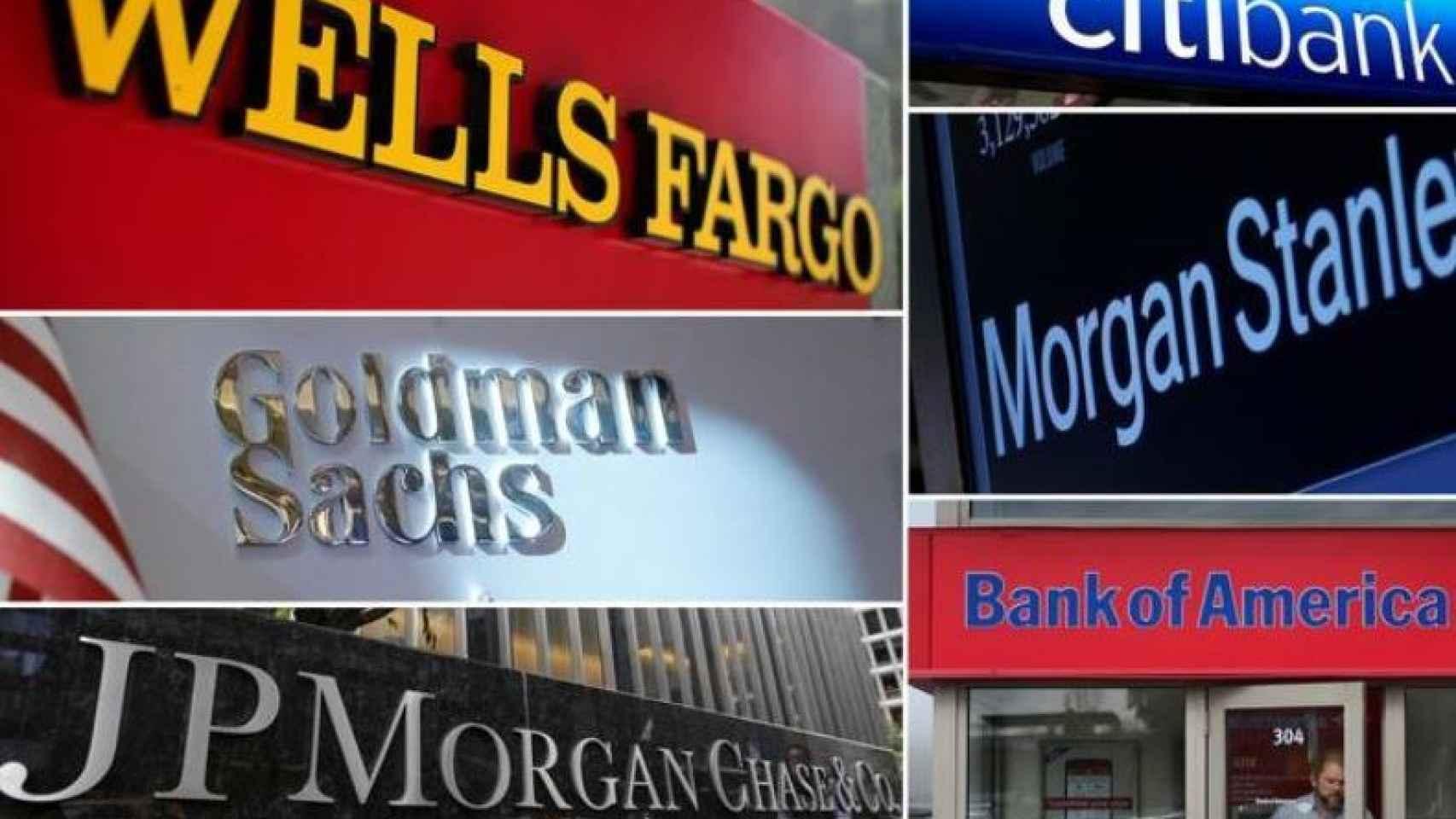 Rótulos de varios de los grandes bancos estadounidenses.