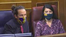 Fotomontaje de Pablo Iglesias y Macarena Olona en la sesión de control este miércoles.