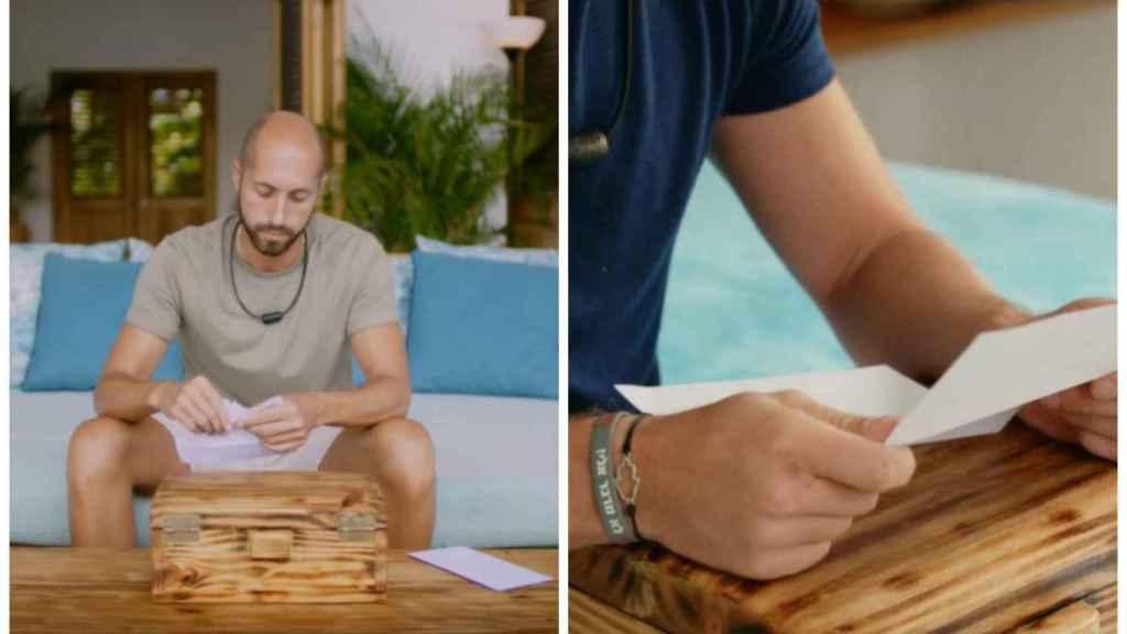 Pablo y Tom leyendo las cartas de sus parejas en montaje de JALEOS.