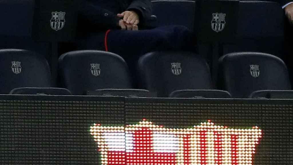 Josep María Bartomeu, durante el partido entre el Barça y el Sevilla