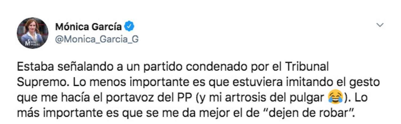 Tuit de la diputada Mónica García.