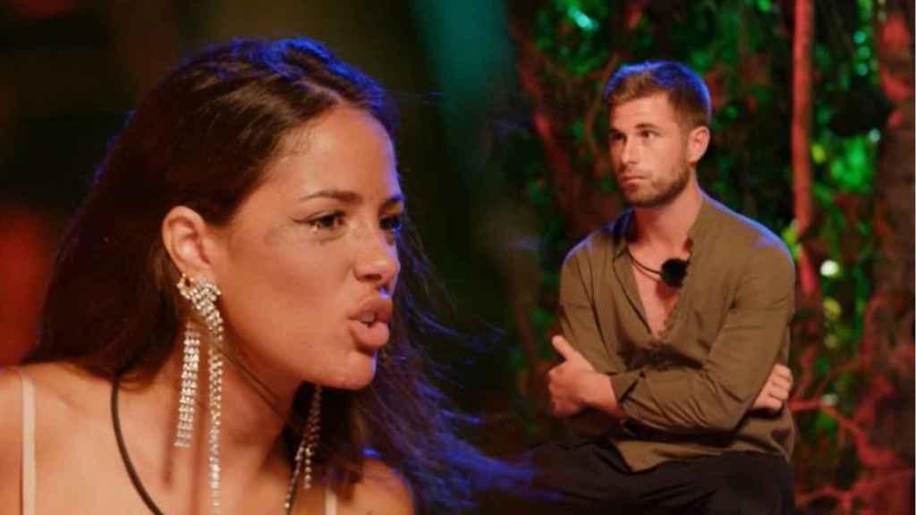 Melyssa ante Tom en la hoguera de confrontación de 'La isla de las tentaciones'.