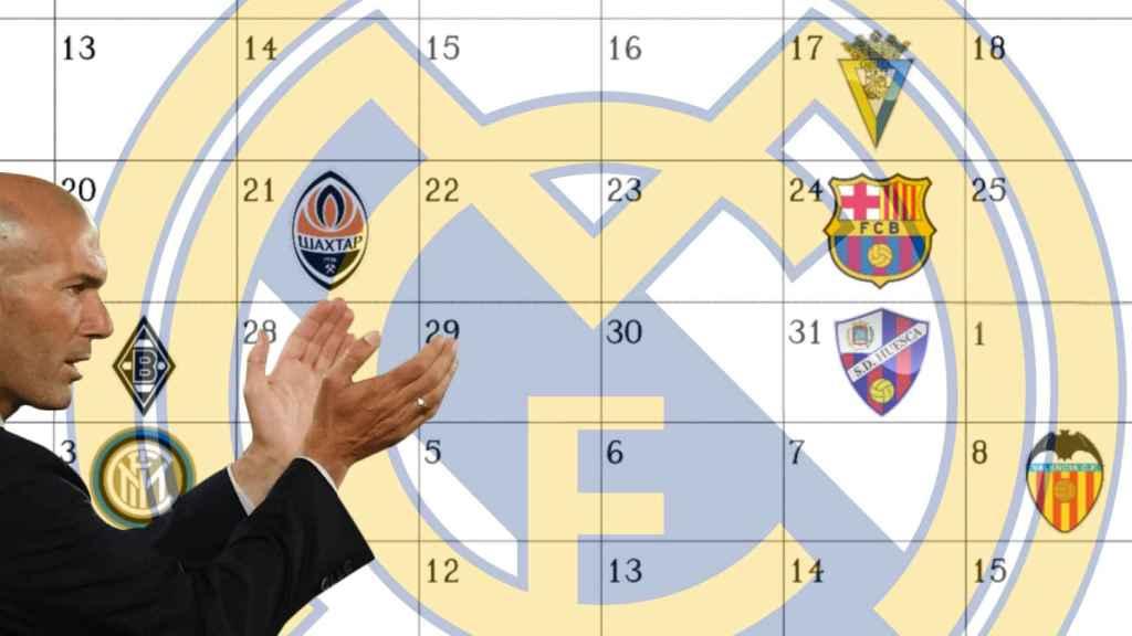 Zinedine Zidane y el calendario del Real Madrid para las próximas tres semanas